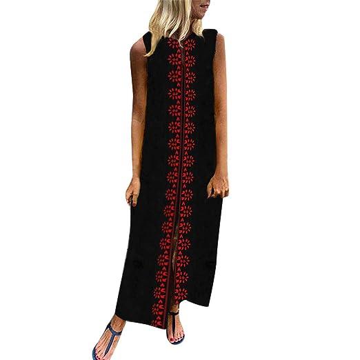 c2f34334116d Women's Printed Sleeveless V-Neck Maxi Dress Hem Baggy Kaftan Long Dress  Black