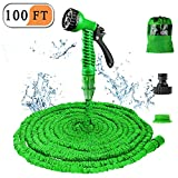 Liwiner 1 Garden 100FT 3 Times Expanding Flexible Magic Lightweight Hose Pipes Reel with 7 Prayer Gun for Washing Car/Watering Flower/s Vegetables/Cleaning Windows/Floor (Green)