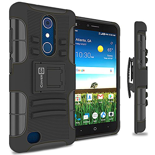 ZTE Blade X Max Holster Case, CoverON [Explorer Series] Holster Hybrid Armor Belt Clip Hard Phone Cover For ZTE Blade X Max Holster Case - Black