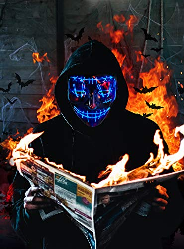 Halloween Purge Mask Light Up Scary Mask EL Wire Cool Costume Festival Parties Raves Unisex