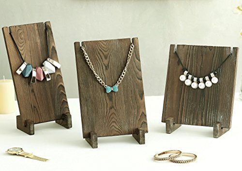 Vintage Style Dark Brown Wood Plank Retail Boutique Necklace Jewelry Display Stands, Set of 3
