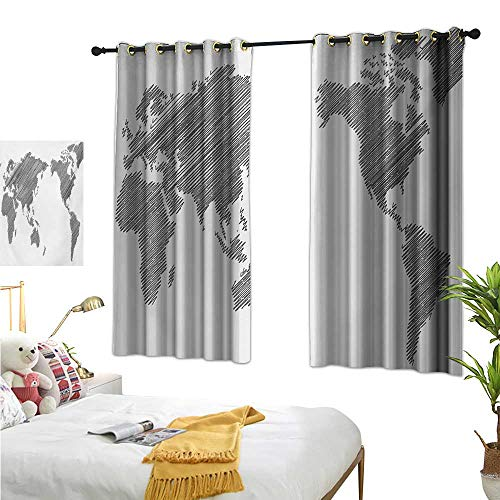 Warm Family Eclipse Curtains World Map,Sketchy Striped Continents Cartography Geography Countries Worldwide Art,Charcoal Grey White 84