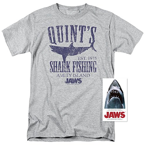 Jaws Movie Quints Shark Fishing T Shirt & Exclusive Stickers (Large) (Tee Fishing Mens)