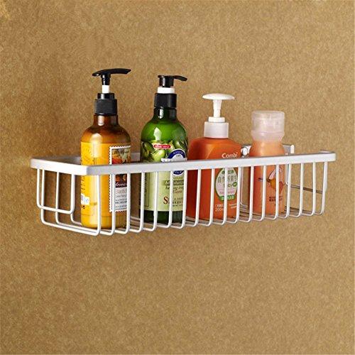 Aluminum Wall Mounted Bathroom Shower Caddy Corner Shelf (Silver) - 1
