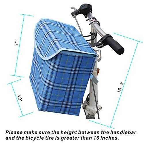 Folding Canva Schwinn Metal Bike Basket,Pinsist Fold up Front Handlebar Bicycle Basket with Detachable Hook Perfect for Girl Women Use and Knee Walker