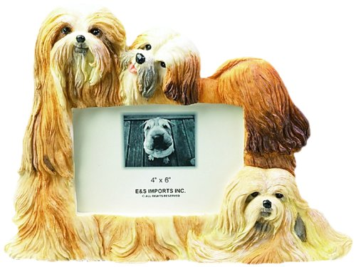 Lhasa Apso Picture Frame Holds Your Favorite 3 x 5  Inch Photo,  A Hand Painted Realistic Looking Lhasa Apso Family Surrounding  Your Photo. This Beautifully Crafted Frame is A Unique Accent To Any Home or Office. The Lhasa Apso Picture Frame Is The Perfect Gift For Lhasa Apso Owners And Lovers! ()