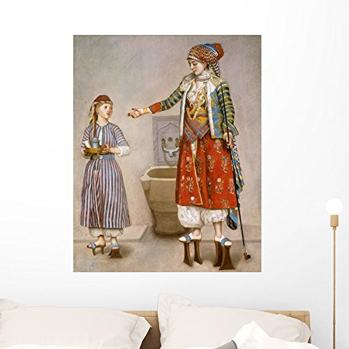 Wallmonkeys A Woman in Turkish Costume in a Hamam Instructing Her Servant by Jean-etienne Liotard Peel and Stick Wall Decals WM272487 (36 in H x 29 in W) (Twosome Costumes)
