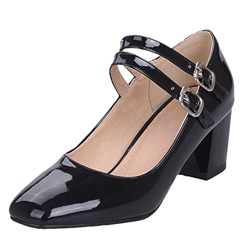 Carolbar Women's Charm Solid Color Mid Heel Square Toe Buckles Court Shoes Black