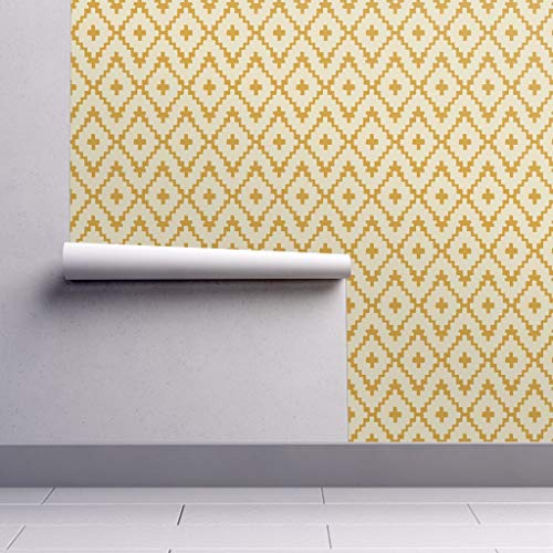 Southwest Wallpaper Roll - Diamonds Navajo Chevron Cross Gold Geometric by Alison Janssen - 1 Roll 24in x 27ft ()