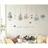 Skyllc® Impermeable etiquetas engomadas desprendibles de coloridas frescas cesta en macetas decorativas de la pared engomadas murales