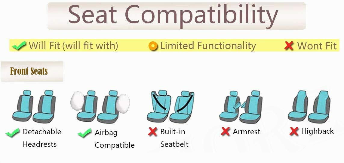 Universal fit Most Car,Truck,SUV and Van Breathable Composite Sponge Inside Airbag Compatible Flying Banner 6 PCS Car Seat Covers Front Cover Polyester Mesh /& PVC Leather Orange and Black