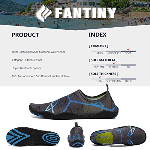 CIOR Men and Women's Barefoot Quick-Dry Water Sports Aqua Shoes With 14 Drainage Holes For Swim, Walking, Yoga, Lake, Beach, Garden, Park, Driving, Boating,DND002,Grey,43 5