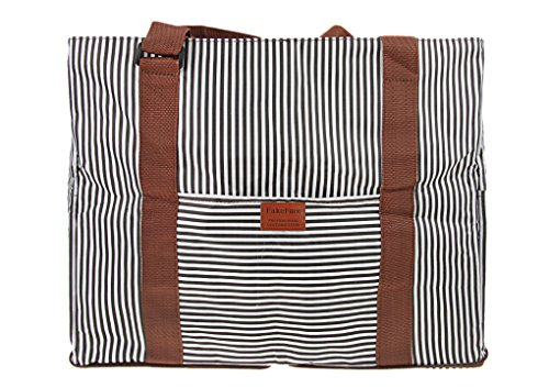 FakeFace Durable Waterproof Oxford Striped Travel Duffle Tote Carry On Duffel Bag for Women Men Large Foldable Sports Gym Luggage Clothes Storage Holdall Weekender Shouder Bag Overnight Handbag