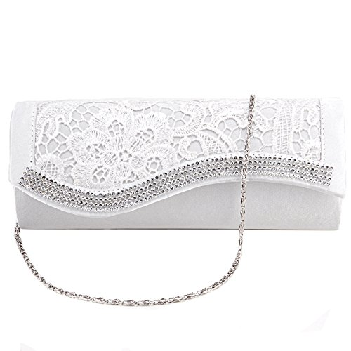 Floral Lace Satin Crystal Diamantes Evening Clutch Bag Wedding Purse Handbag 0805faf2d8917