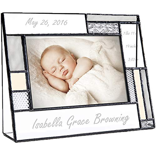 Personalized Baby Picture Frame Grey and Yellow Engraved Glass 4x6 Horizontal Photo Nursery Decor Newborn Gift for Girl or boy J Devlin Pic 392-46H EP530 - Linda Picture Frame