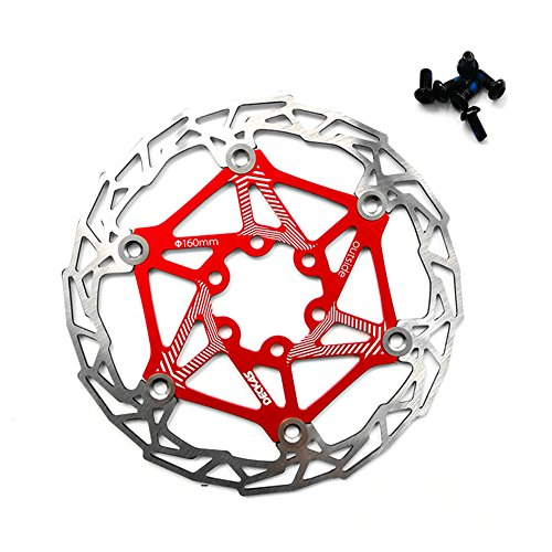 zeker Gymforward Stainless Steel Floating Bicycle Disc Brake 160MM Bike Rotor Mountain Cycling Parts Accessories (Red)