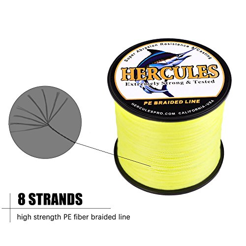 HERCULES Cost-Effective Super Cast 8 Strands Braided Fishing Line 10LB to 300LB Test for Salt-Water,109 328 547 1094 Yards 100M 300M 500M 1000M ,Diam. 0.12MM-1.2MM,Hi-Grade Performance,Variety Colors