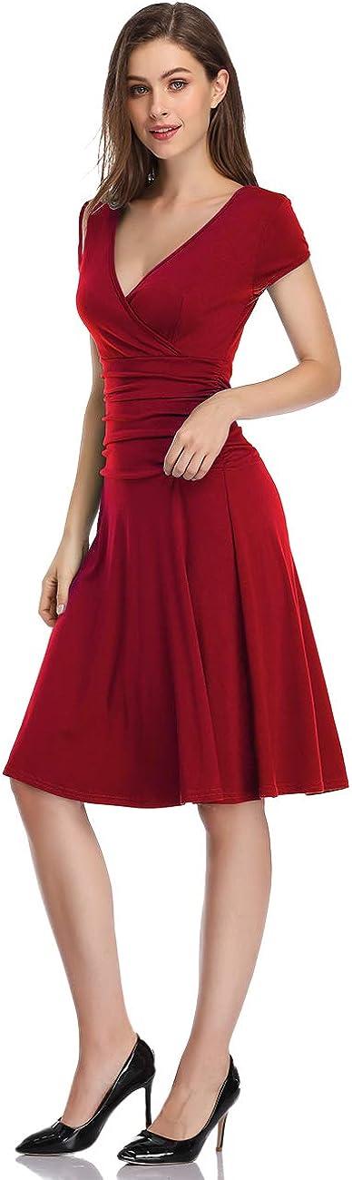 Clearlove Womens V-Neck A-Line Tummy Control Slim Dress