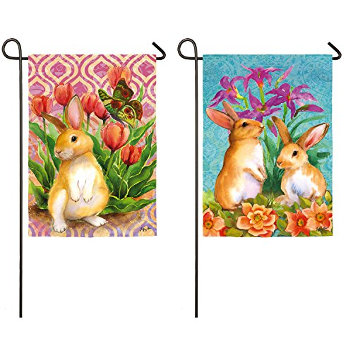 Evergreen Bunny Patch Suede Garden Flag, 12.5 x 18 inches