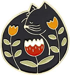 Aisoway Personalidad de la joyería de Dibujos Animados Broche de la Flor del Lirio de Esmalte Pin de la Solapa del Gato Chaquetas Insignia