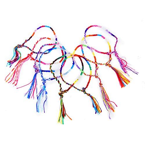 9pcs Random Color Handmade Braided Thread Friendship Hippie Bracelets Wrist Ankle Bracelet