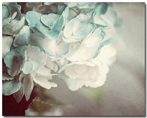 Shabby Chic Cottage Decor 8x10 Hydrangea Print in Teal Aqua Turquoise Cream Hydrangeas Bouquet Paper