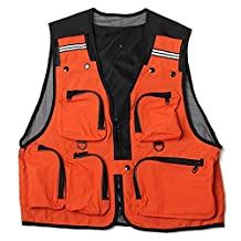 SODIAL(R) Lightweight, Comfortable, Multi-Pocket Fishing Net Vest Hunting work vest Outdoor vest Gray L