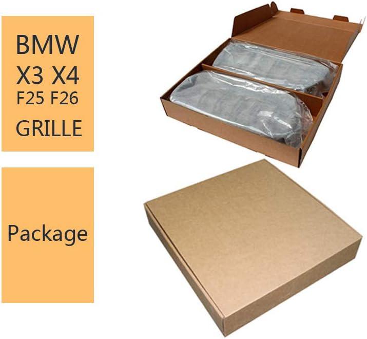 ABS brillante negro parrilla de doble list/ón Rejilla delantera para BMWX Series X3 X4 F25 F26 2014-2018