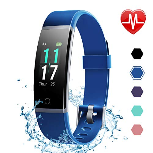 LETSCOM Fitness Tracker HR, Color Screen Activity Tracker with Heart Rate Monitor and Sleep Monitor, IP68 Waterproof Pedometer Watch, Step Counter, Calorie Counter for Women Men (Best Activity Trackers)