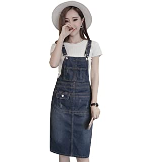 c81f3430f99 TOPJIN Women s Plus Size Adjustable Denim Suspender Skirt Jeans Overall  Dress