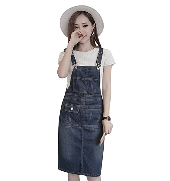 a2dcd706423 TOPJIN Women s Plus Size Adjustable Denim Suspender Skirt Jeans Overall  Dress S