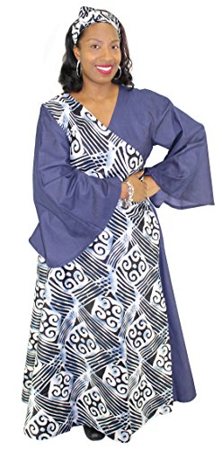Denim Assorted Print Wrap Maxi Dress with Bell Sleeves (Gray & Blue) by African Planet (Image #1)