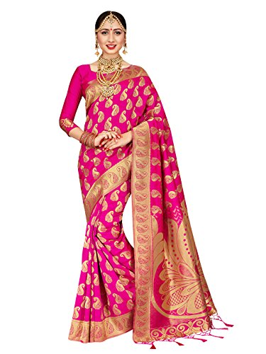 Women Banarasi Art Silk Woven Saree l Indian Wedding Traditional Wear Sari (Pink) ()
