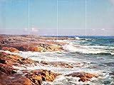 Seascape of the coast and ocean rocks sea stones waves by Johan Krouthen Tile Mural Kitchen Bathroom Wall Backsplash Behind Stove Range Sink Splashback 4x3 6'' Ceramic, Matte