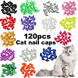 VICTHY 120pcs Cat Nail Caps - Colorful Pet Cat Soft Claws Nail Covers for Cat Claws with Adhesive and Applicatorsm Extra Small