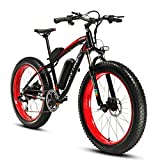 Cyrusher Fat Tire Bike Snow Bike Mountain Bike with Motor 500W 48V Lithium Battery Extrbici XF660 Shimano 7 Speeds System 4.0 inch Fat Tire Suspension Fork Dual Disc Brakes