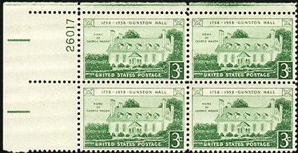 Amazon 1958 4 X 3 Gunston Hall Postage Stamps Scott 1108