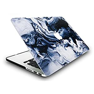 KEC MacBook Pro Retina 13 Inch Case Cover Marble Plastic Hard Shell Protective A1502 / A1425 (Black Grey Marble)