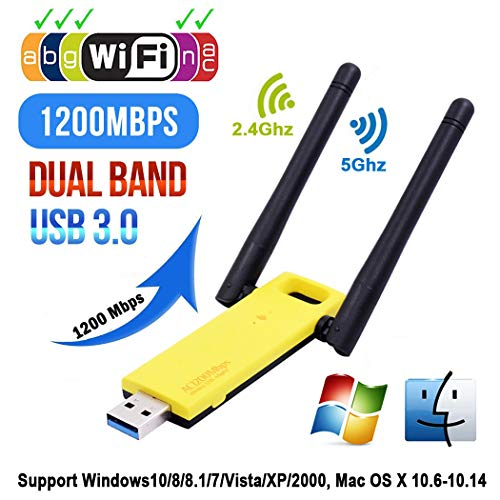 Super Speed USB 3.0 Wireless WiFi Adapter 1200Mbps Dual Band 5GHz 2.4Ghz 802.11AC WiFi Antenna Dongle Network Card for Laptop/Desktop/PC, Support Windows10/8/8.1/7/Vista/XP/2000, Mac OS X 10.6-10.14