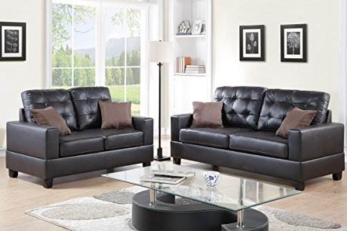 Poundex F7857 Bobkona Aria Faux Leather 2 Piece Sofa and Loveseat Set, Espresso