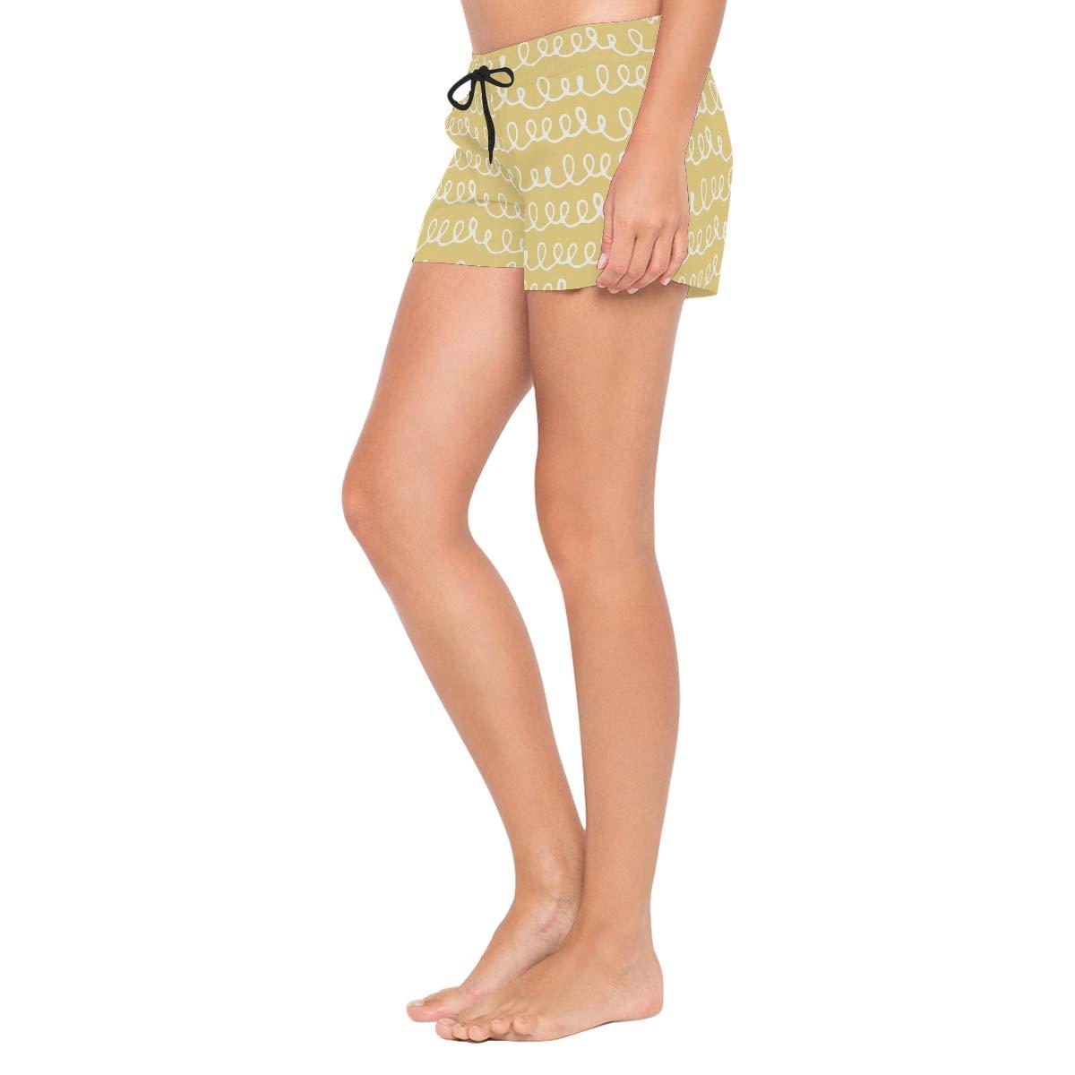 MALPLENA Womens Board Shorts Irregular Line Quick Dry Beach Boardshorts