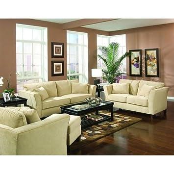 2 PCs Retro Contemporary Velvet Sofa and Loveseat Living Room Set