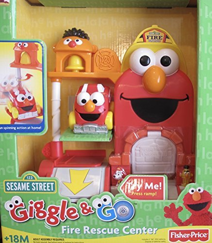 Fisher-Price Sesame Street Giggle & Go FIRE Rescue Center w ELMO 'Spin Action' FIRE Engine & Fun Sounds (2007 ()