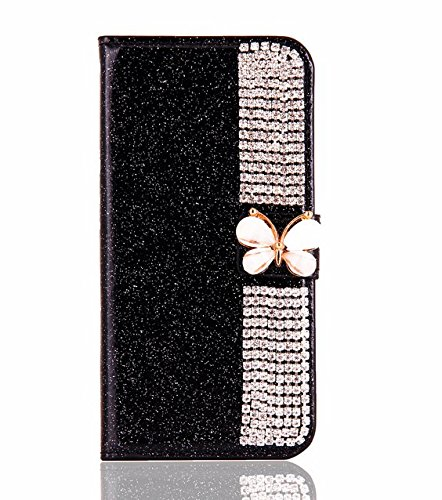 Superstart Samsung Galaxy S7 Edge 3D Handmade Beauty Butterfly Rhinestone Diamond Case for Samsung S7 Edge Bling PU Leather Flip Stand Credit Card Wal…