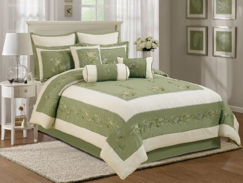 Chezmoi Collection 7 Piece Beige Embroidery Chrysanthemum...