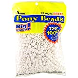 Darice 06121-2-02 1000 Count Pony Beads, 9mm, Opaque White
