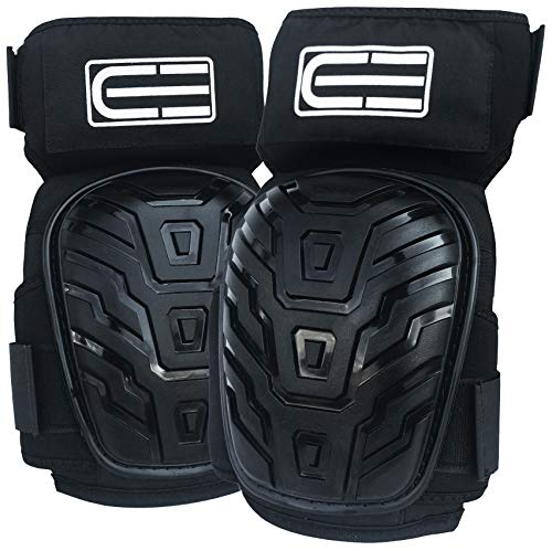 Crafted Everest Professional Work Knee Pads - Durable Foam Padding and Comfortable Gel Cushion - Adjustable Straps with Thigh Support Designed to Prevent Slipping - Heavy Duty Protection