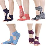 Yoga Socks Toeless Non Slip Skid Pilates Grippy Barre Cotton Sock for Women Pack of 5 colored thread color one size