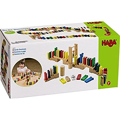 HABA Go-Go Wooden Dominoes 249 Piece Building Set with Stairs, Bridge & Bell for Ages 3-10: Toys & Games