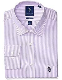 Men's Slim Fit Striped Semi Spread Collar Dress Shirt